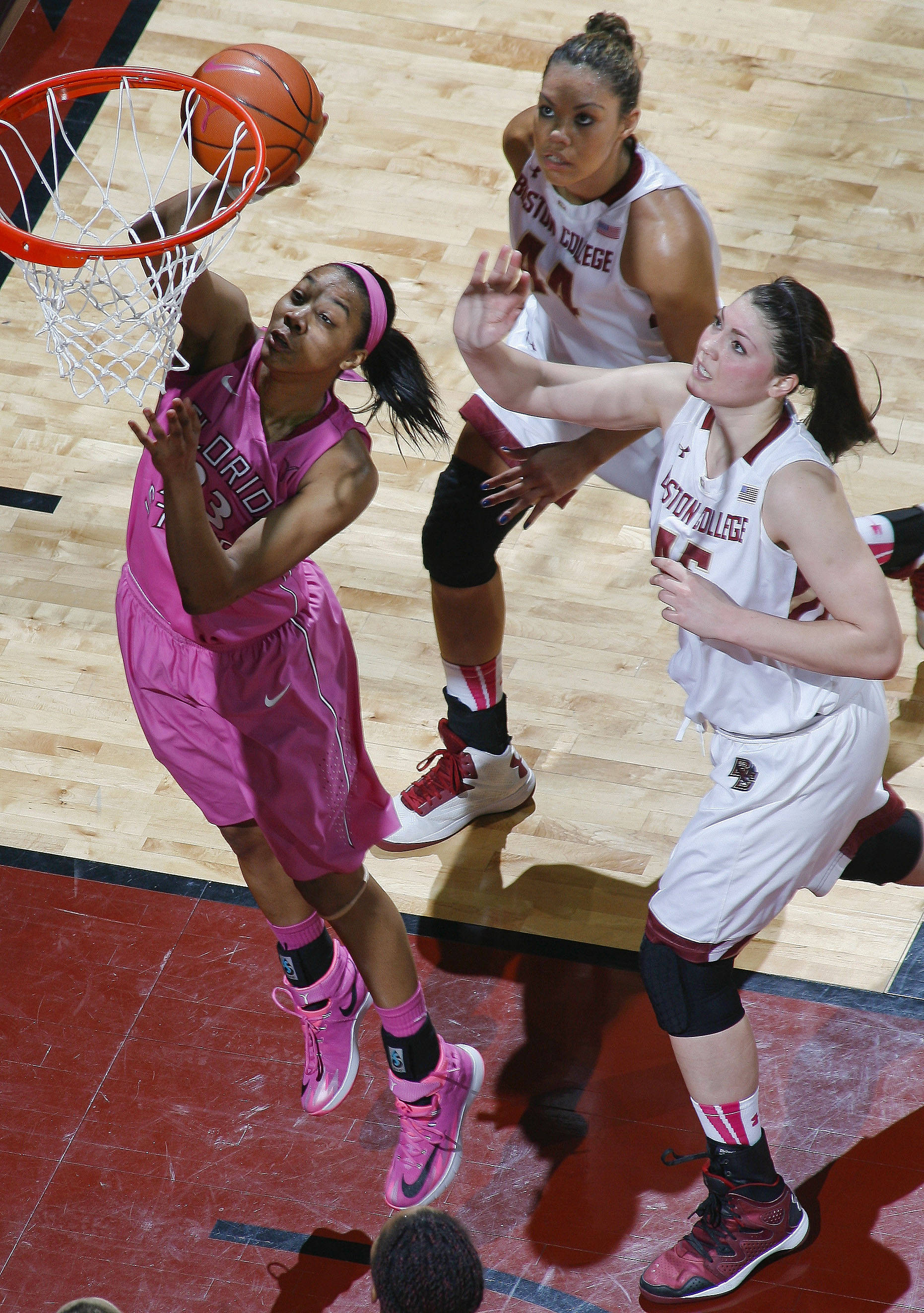 Florida State Seminoles forward Ivey Slaughter (23) shoots the ball in front of Boston College Eagles guard/forward Kat Cooper (44) and forward/center Katie Zenevitch (45). Mandatory Credit: Phil Sears-USA TODAY Sports