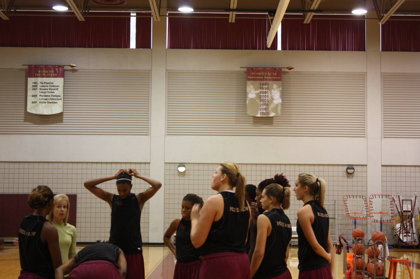 Team huddle during practice.