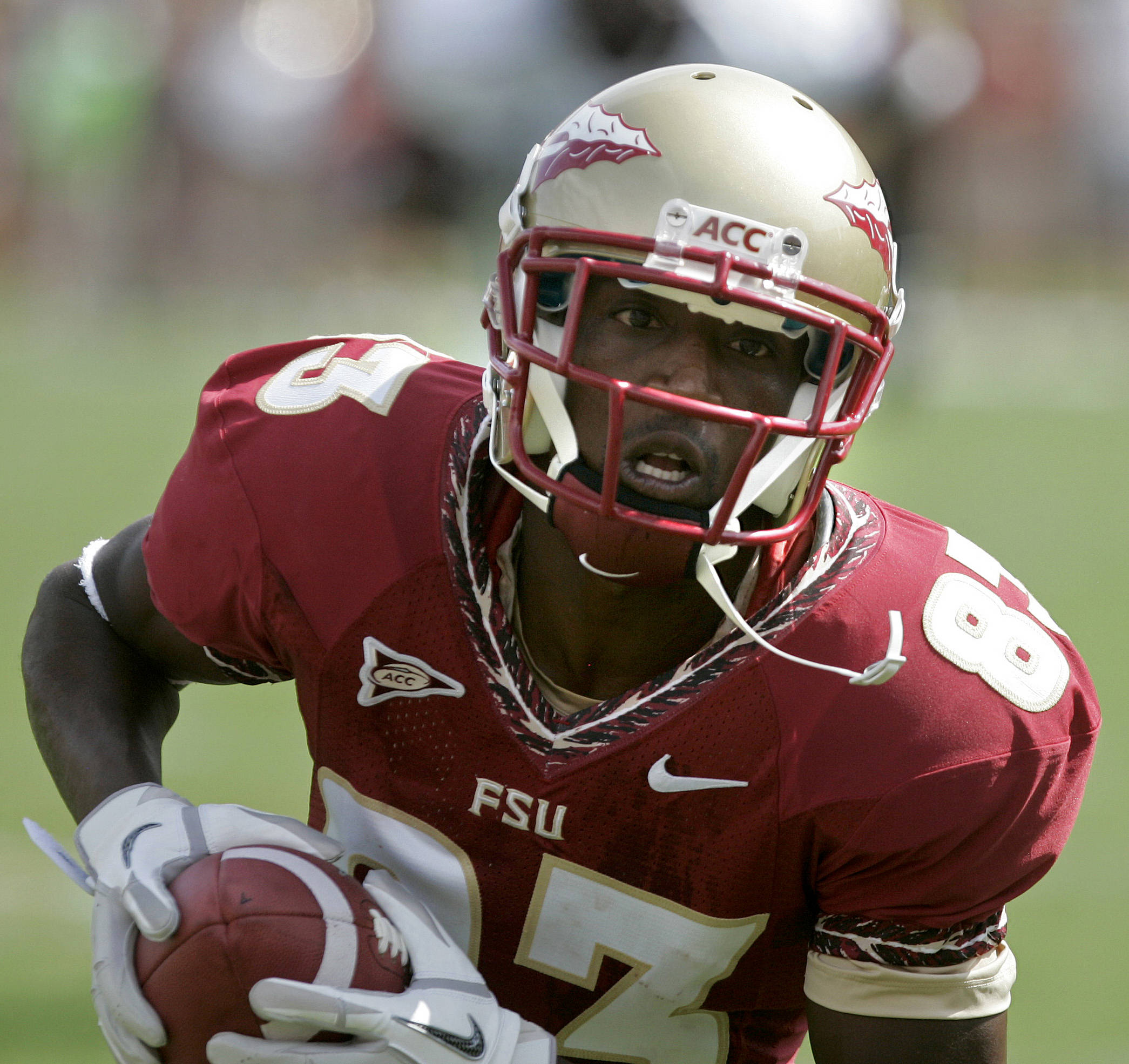 Florida State's Bert Reed heads towards the end zone after a pass reception to score the first touchdown against Louisiana-Monroe during the first quarter of an NCAA college football game, Saturday, Sept. 3, 2011, in Tallahassee, Fla. (AP Photo/Steve Cannon)