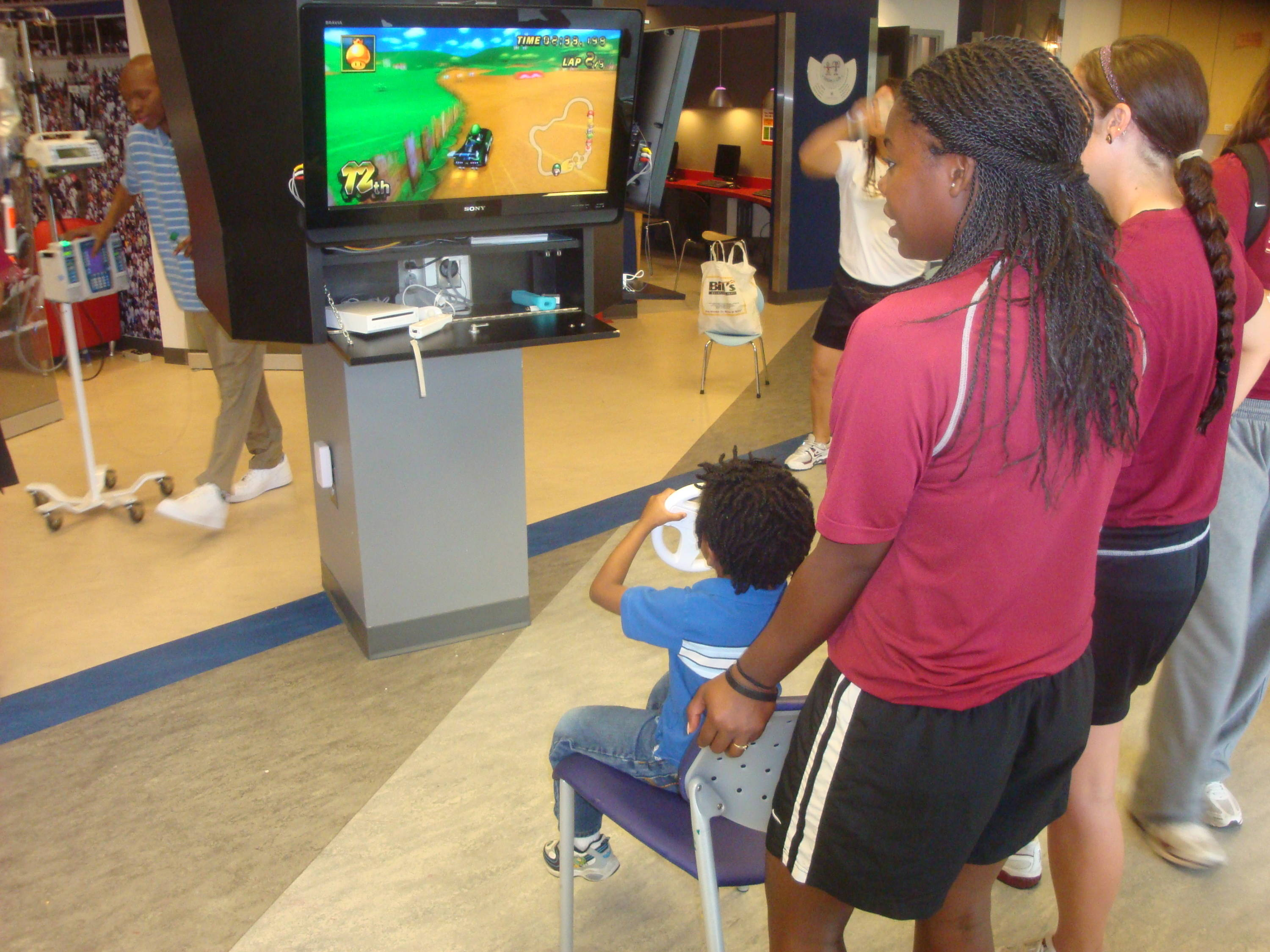 Jonathan chose Luigi in his races while Amber Bryant and Maddie O'Brien look on, hoping he can emerge victorious over the likes of Bowser, Koopa Troopa, Yoshi, the Princess and other challengers