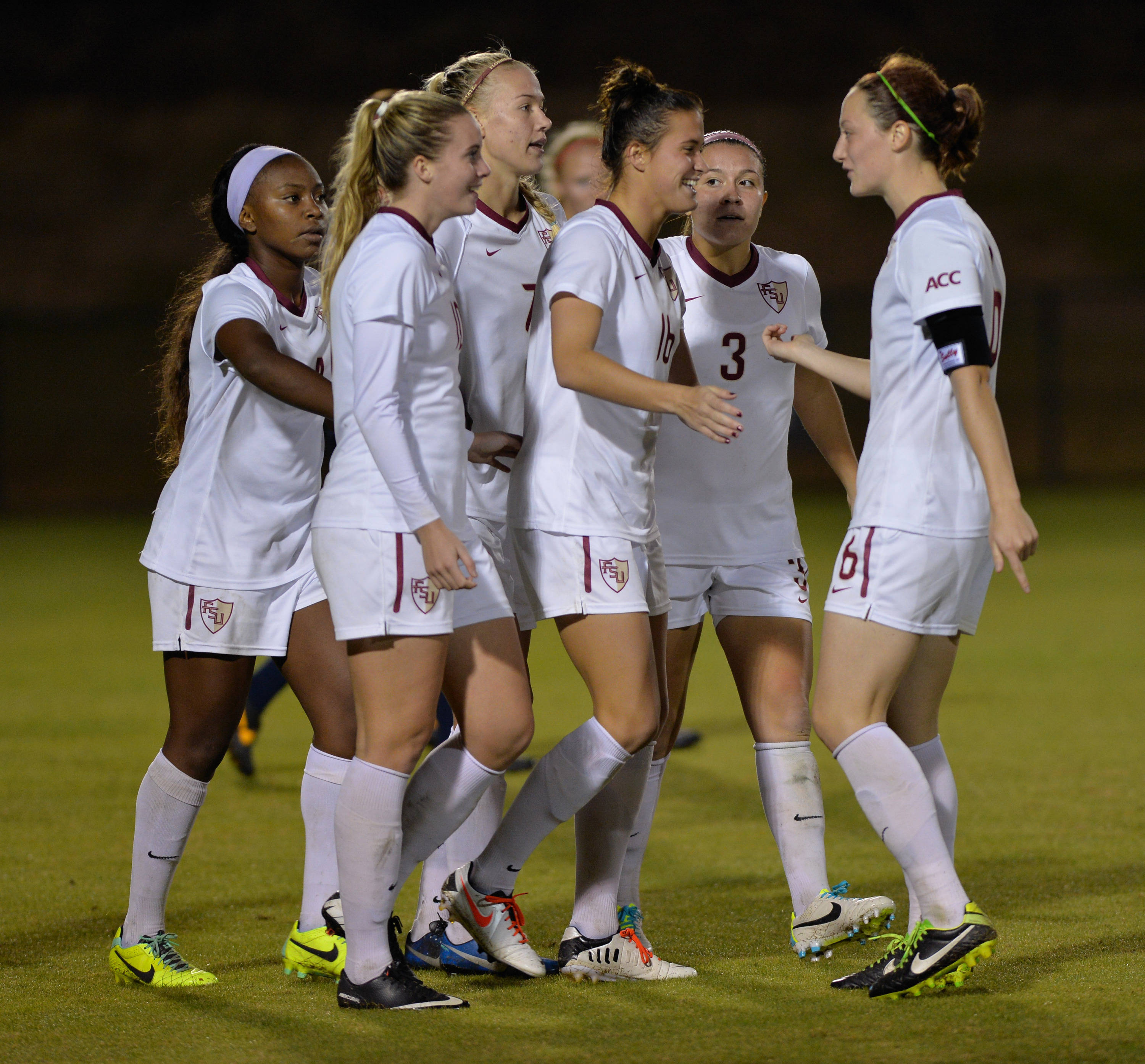 The Seminoles celebrate after scoring a goal Friday night