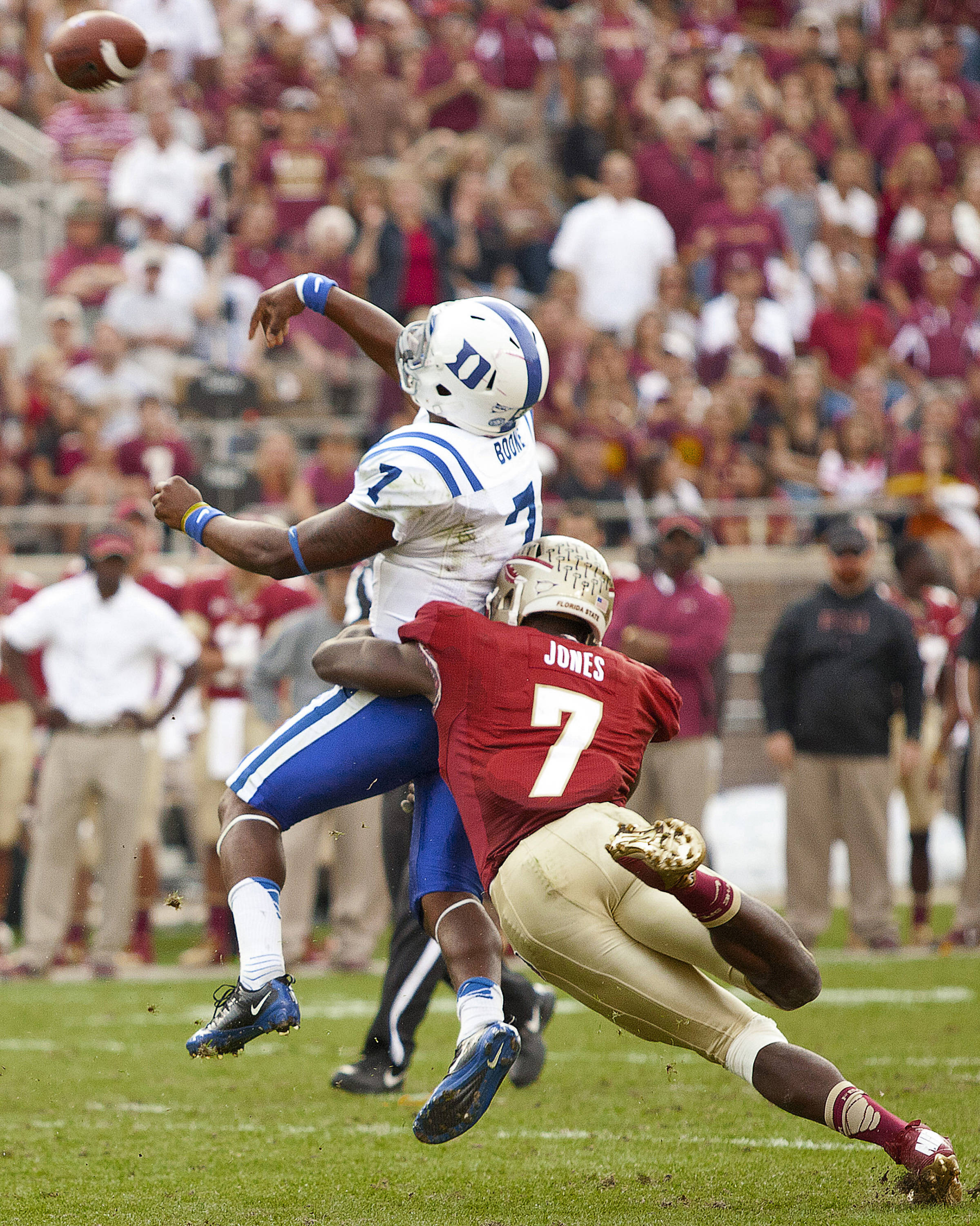 Christian Jones (7) attempts to tackle Duke's quarterback during FSU's 48-7 victory over Duke on October 27, 2012 in Tallahassee, Fla.