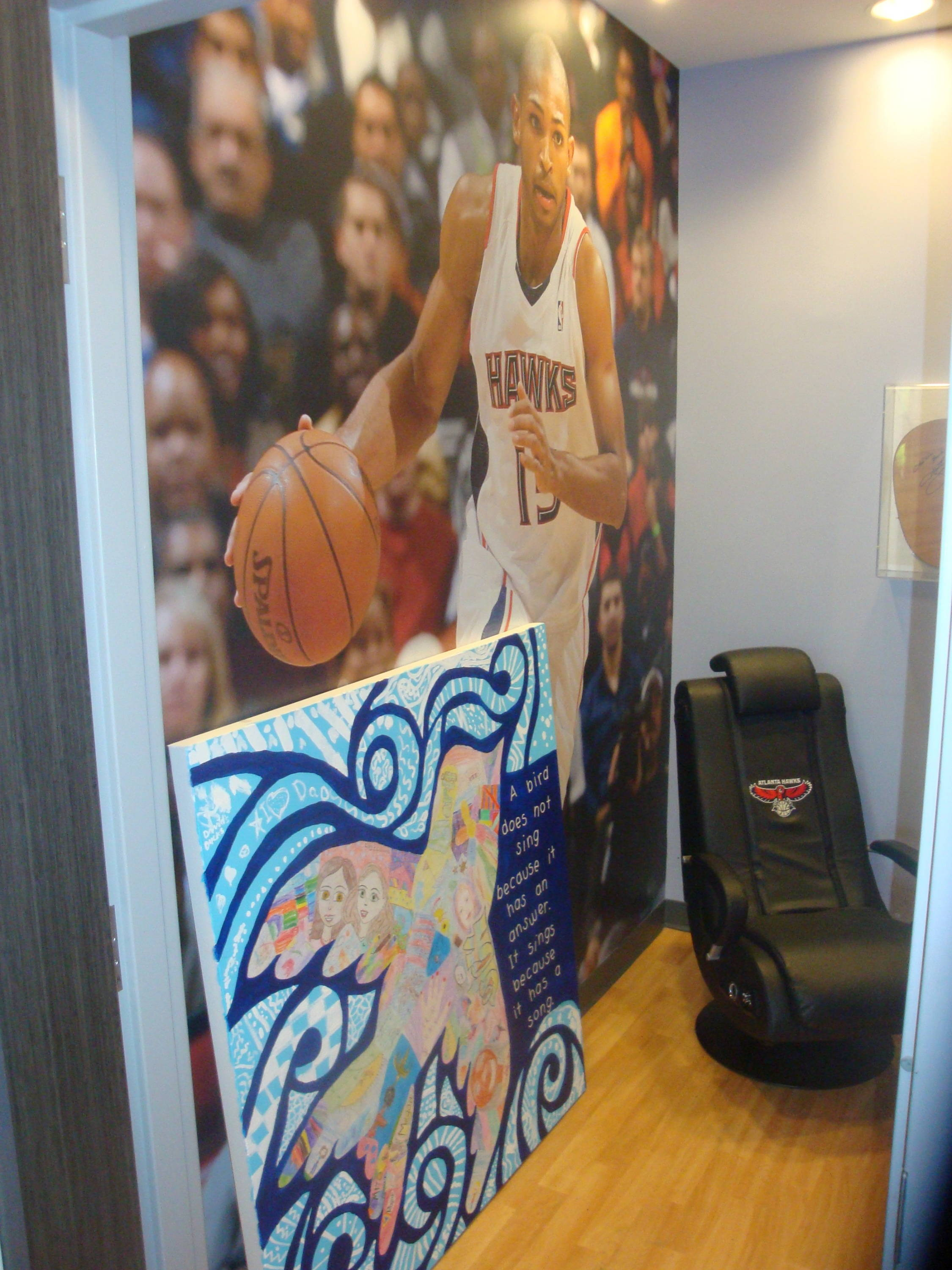 Here is a play room that features the Atlanta Hawks