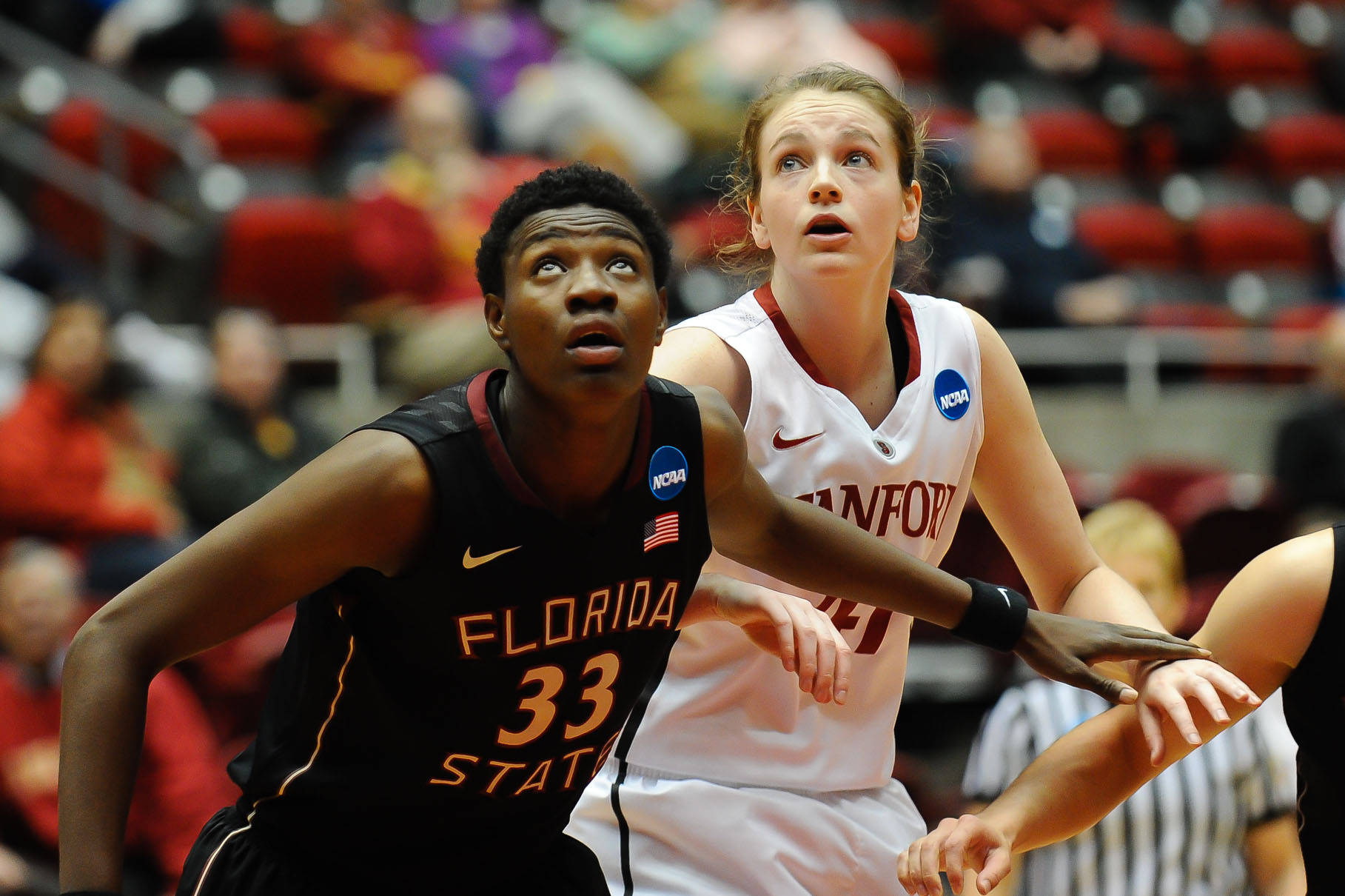 Mar 24, 2014; Ames, IA, USA; Florida State Seminoles forward Natasha Howard (33) and Stanford Cardinal forward Bonnie Samuelson (41) wait for a rebound in the second half of a women's college basketball game in the second round of the NCAA Tournament at James H. Hilton Coliseum. Stanford defeated Florida State 63-44. Mandatory Credit: Steven Branscombe-USA TODAY Sports