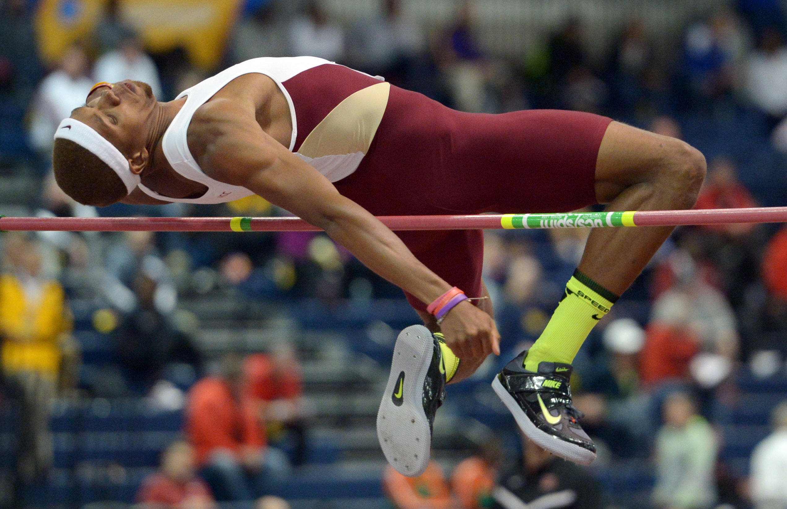 Mar 14, 2014; Albuquerque, NM, USA; James Harris of Florida State wins the high jump at 7-7 1/4 (2.32m) in the 2014 NCAA Indoor Championships at Albuquerque Convention Center. Mandatory Credit: Kirby Lee-USA TODAY Sports