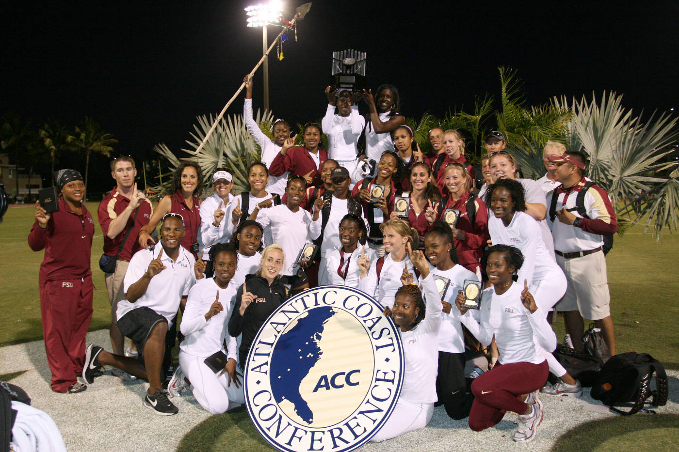 The women's track and field team at the ACC Championships.