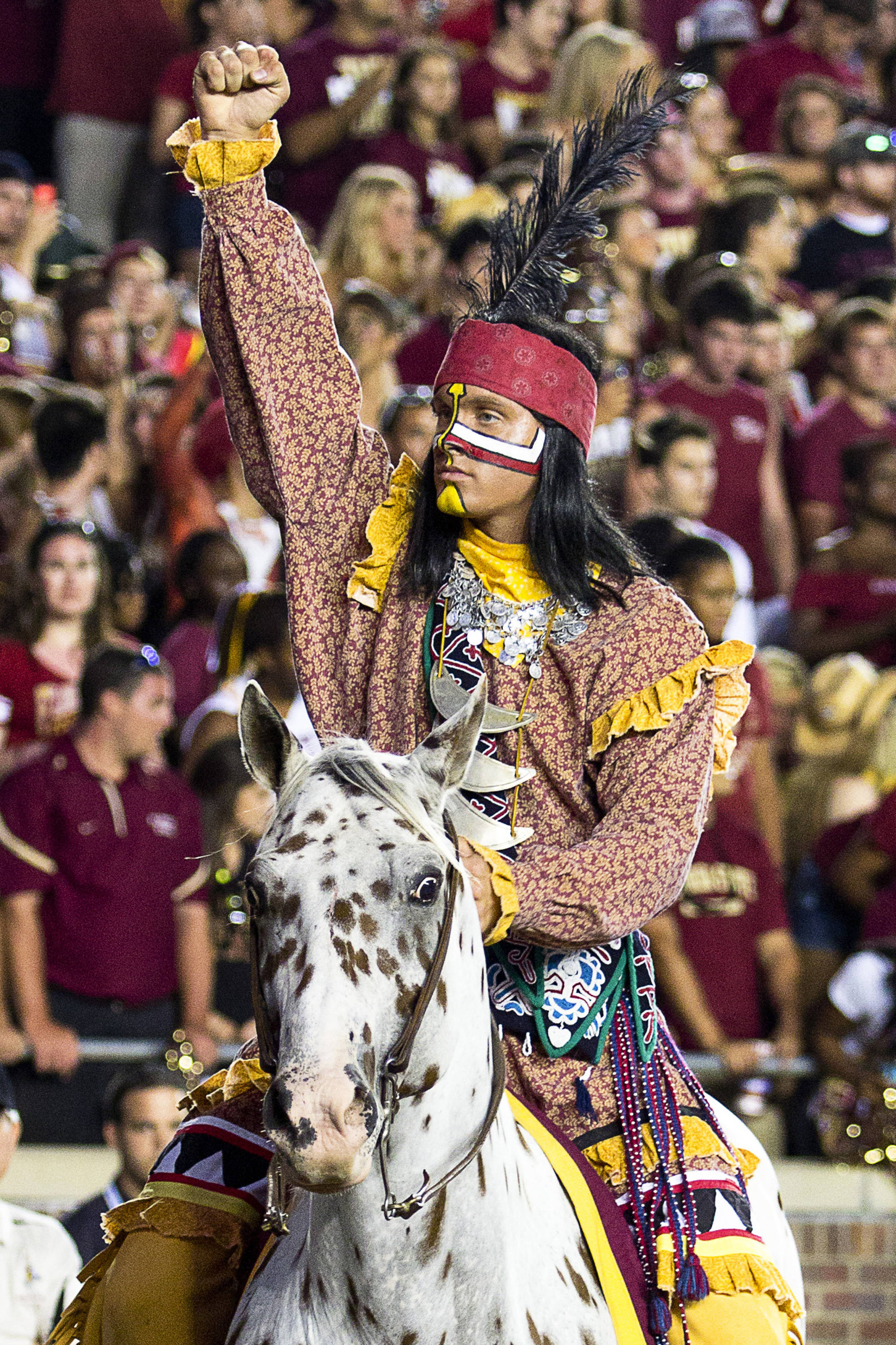 osceola pumps up fans before the game against Oklahoma on September 17, 2011.