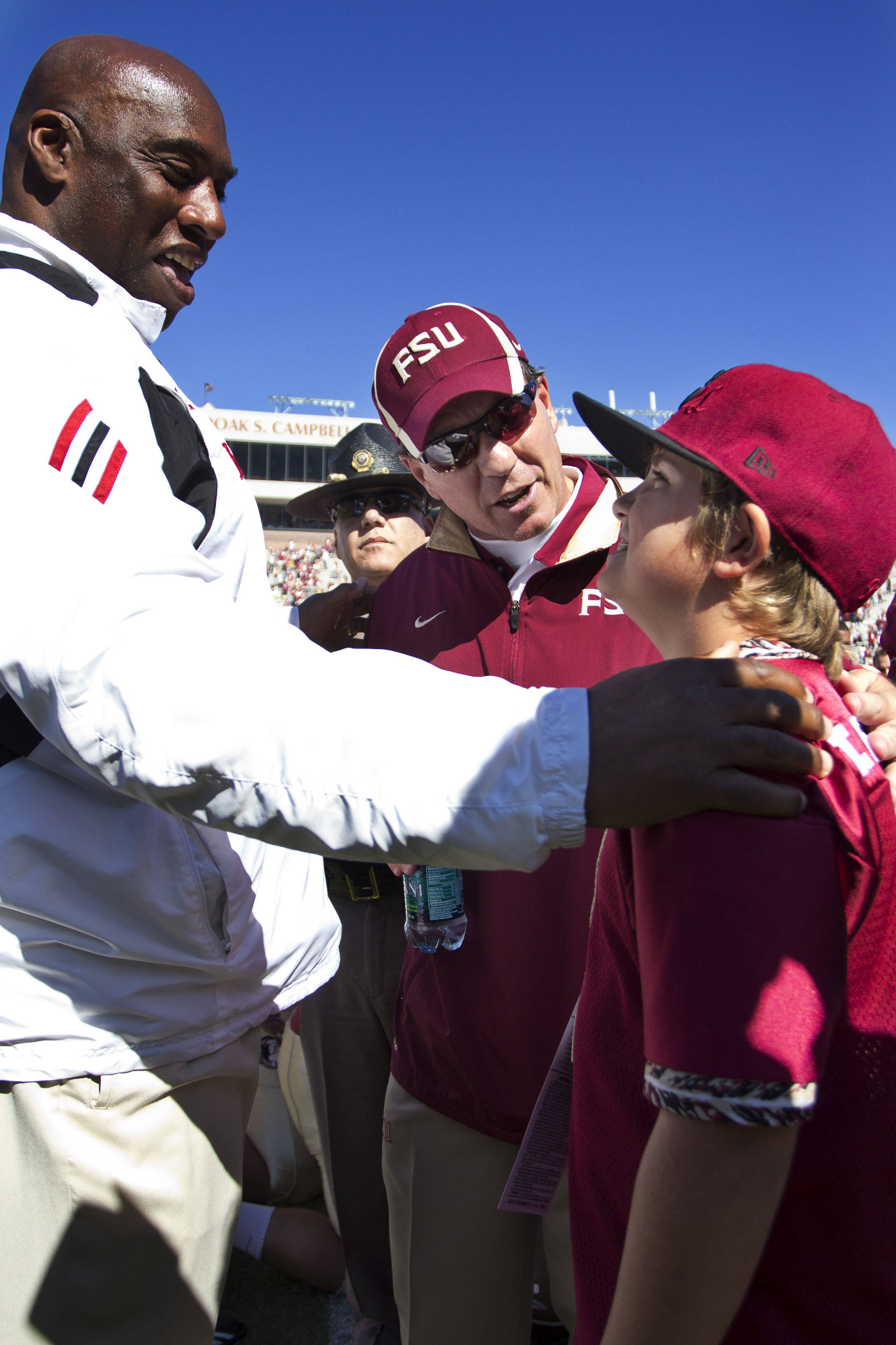 Jimbo Fisher during the post-game celebration after the football game against NC State on October 29, 2011.