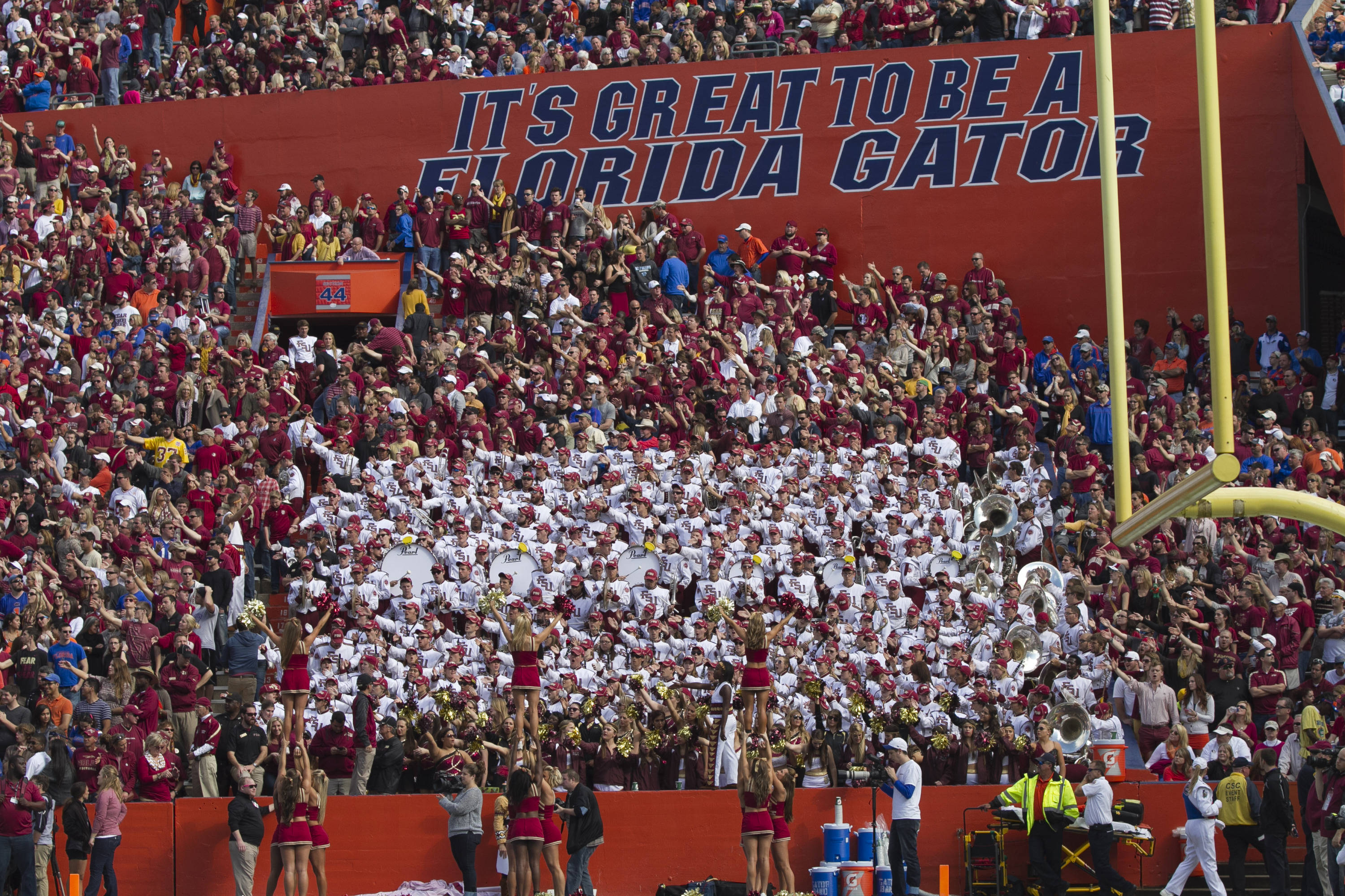 """The Marching Chiefs, cheerleaders and fans show that """"it's great to be a Nole"""", FSU vs Florida, 11-30-13,  (Photo by Steve Musco)"""