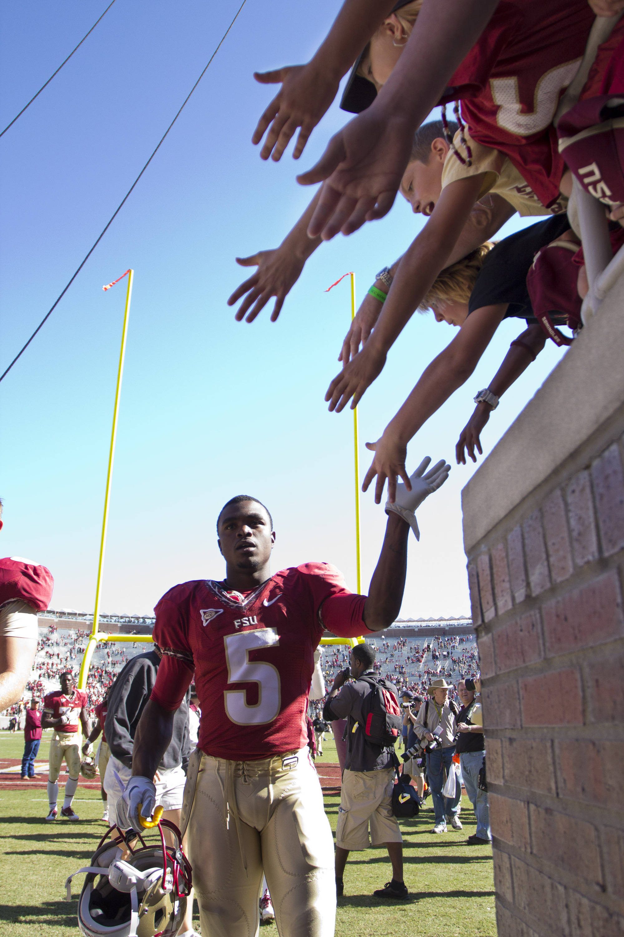 Fans greet the Seminoles after the football game against NC State on October 29, 2011.