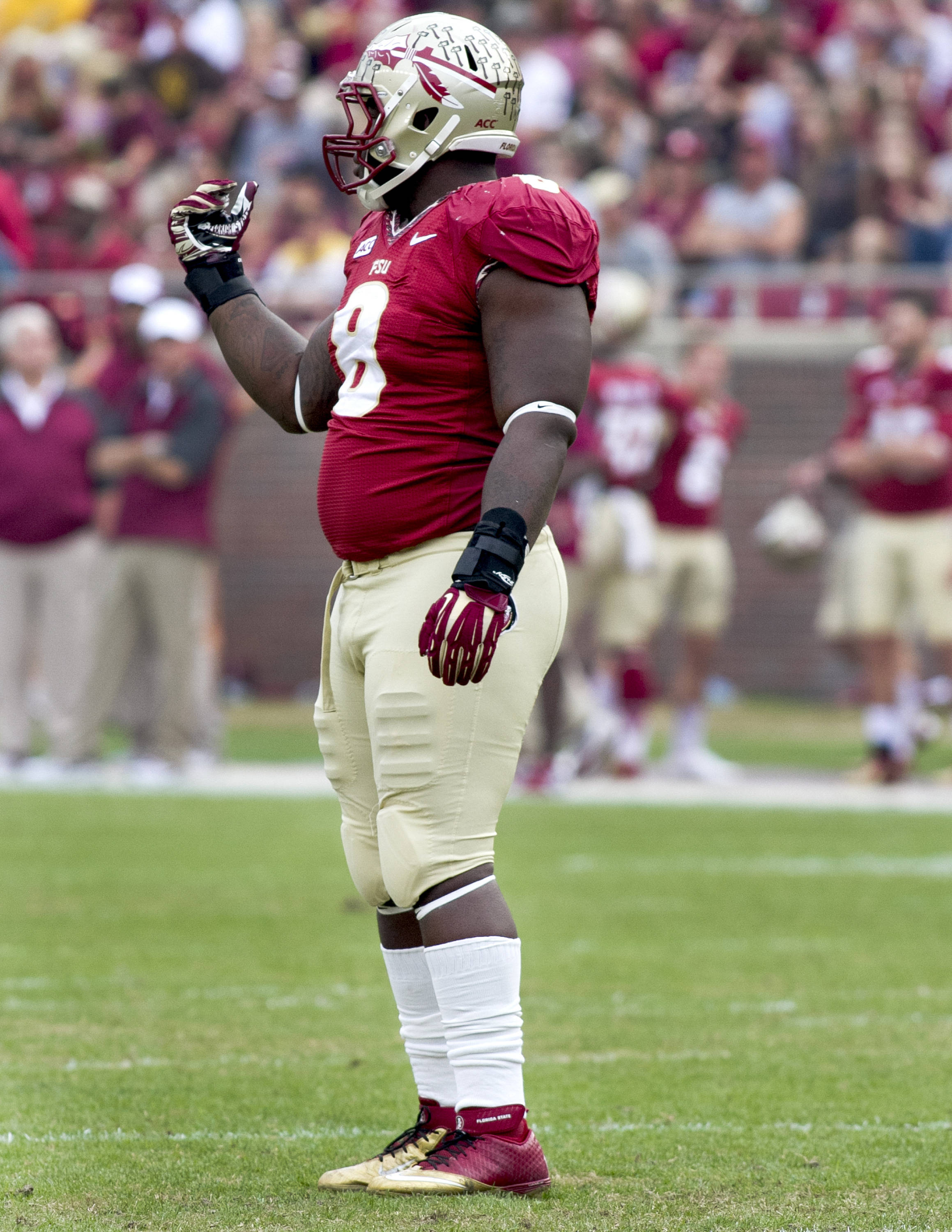 Timmy Jernigan (8) calling Idaho's offense back due to a penalty, FSU vs Idaho, 11-23-13,  (Photo by Steve Musco)