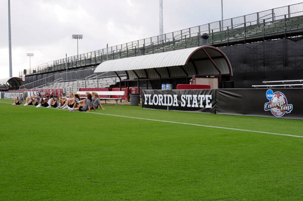 The Seminoles on the field during practice at the Aggie Soccer Stadium on the campus of Texas A&M.