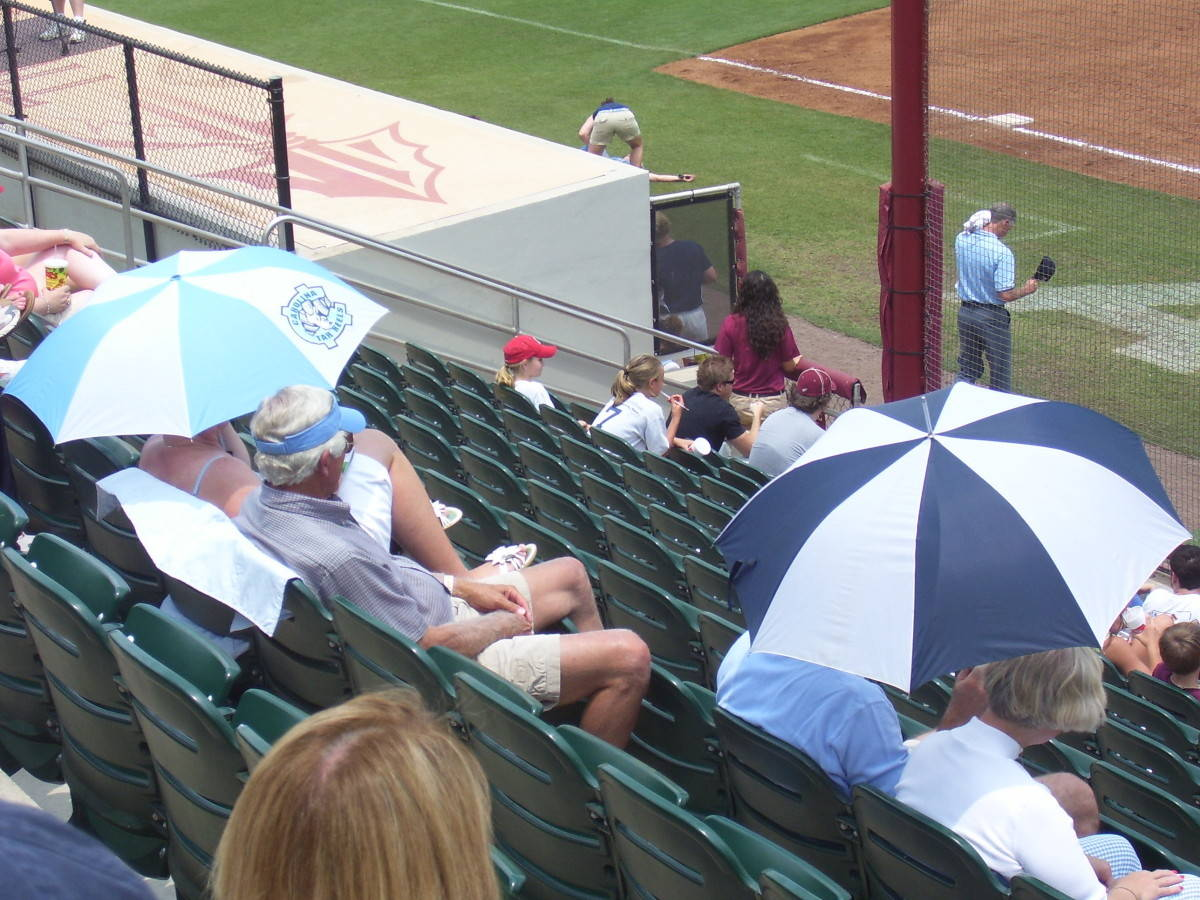 Carolina fans trying to escape from the heat.