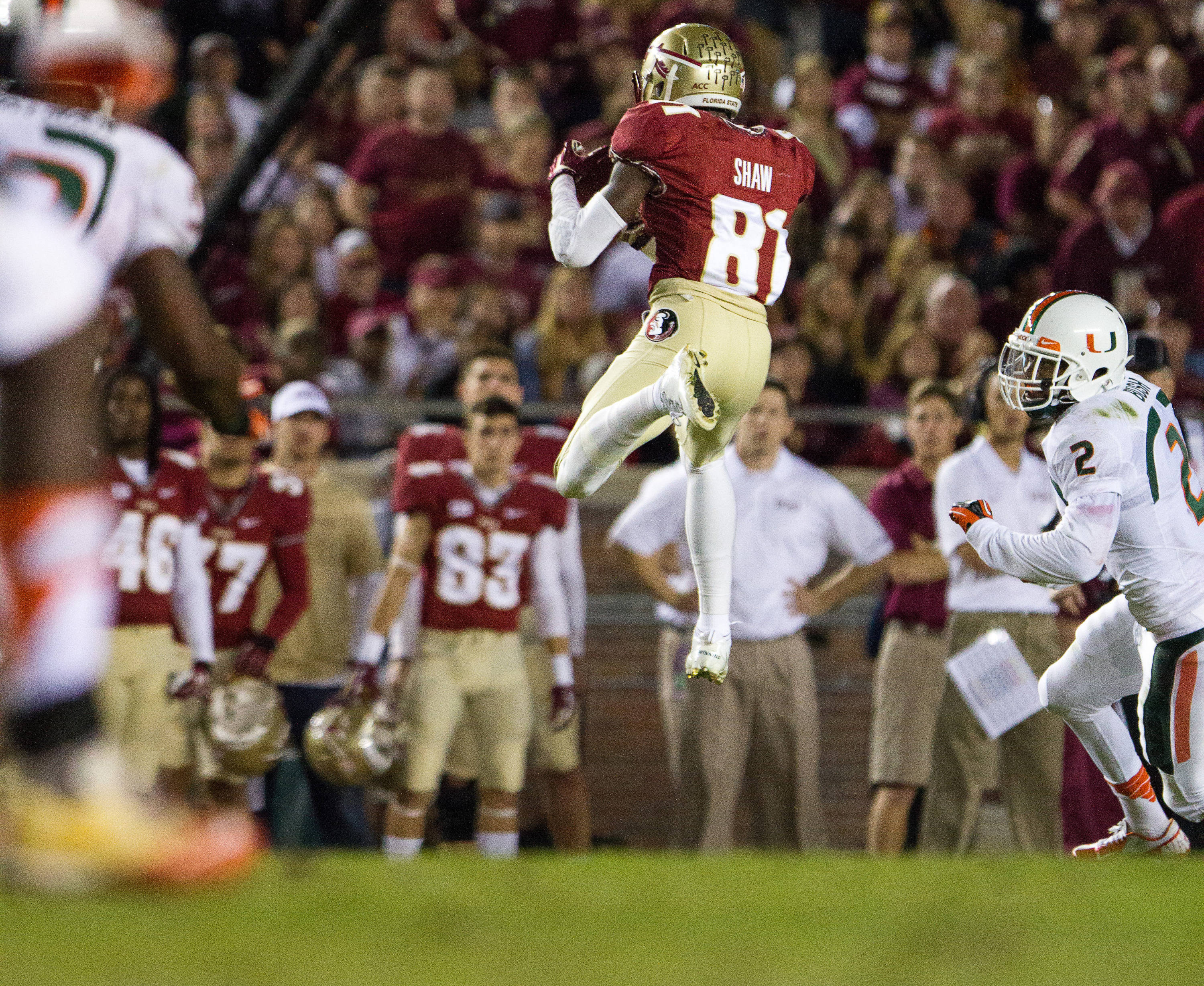 Kenny Shaw (81) makes a reception during FSU football's 41-14 win over Miami on Saturday, November 2, 2013 in Tallahassee, Fla. Photo by Michael Schwarz.
