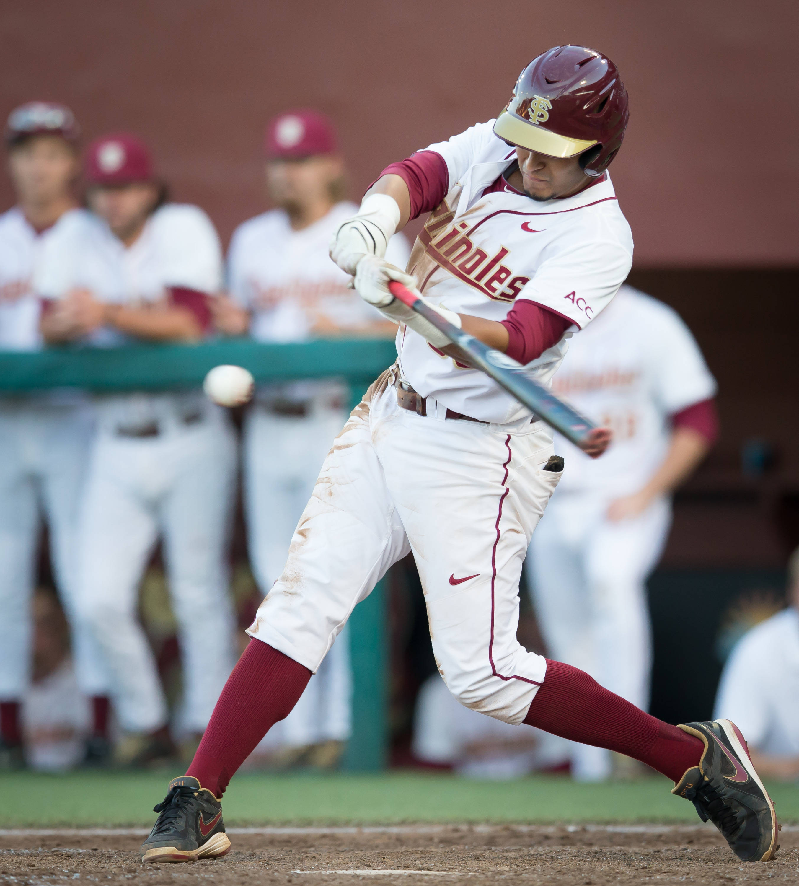 Jose Brizuela (53) went 3 for 4 with 2 RBI's.  Here he connects for a sacrifice fly driving in DJ Stewart.
