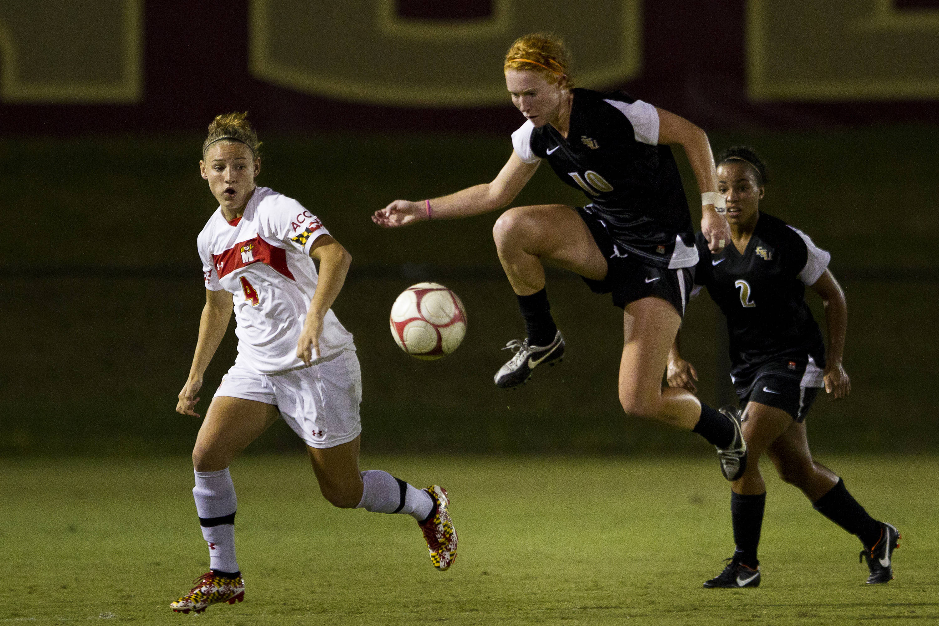 Tori Huster (10) plays the ball out of the air during the game against Maryland on October 13, 2011.