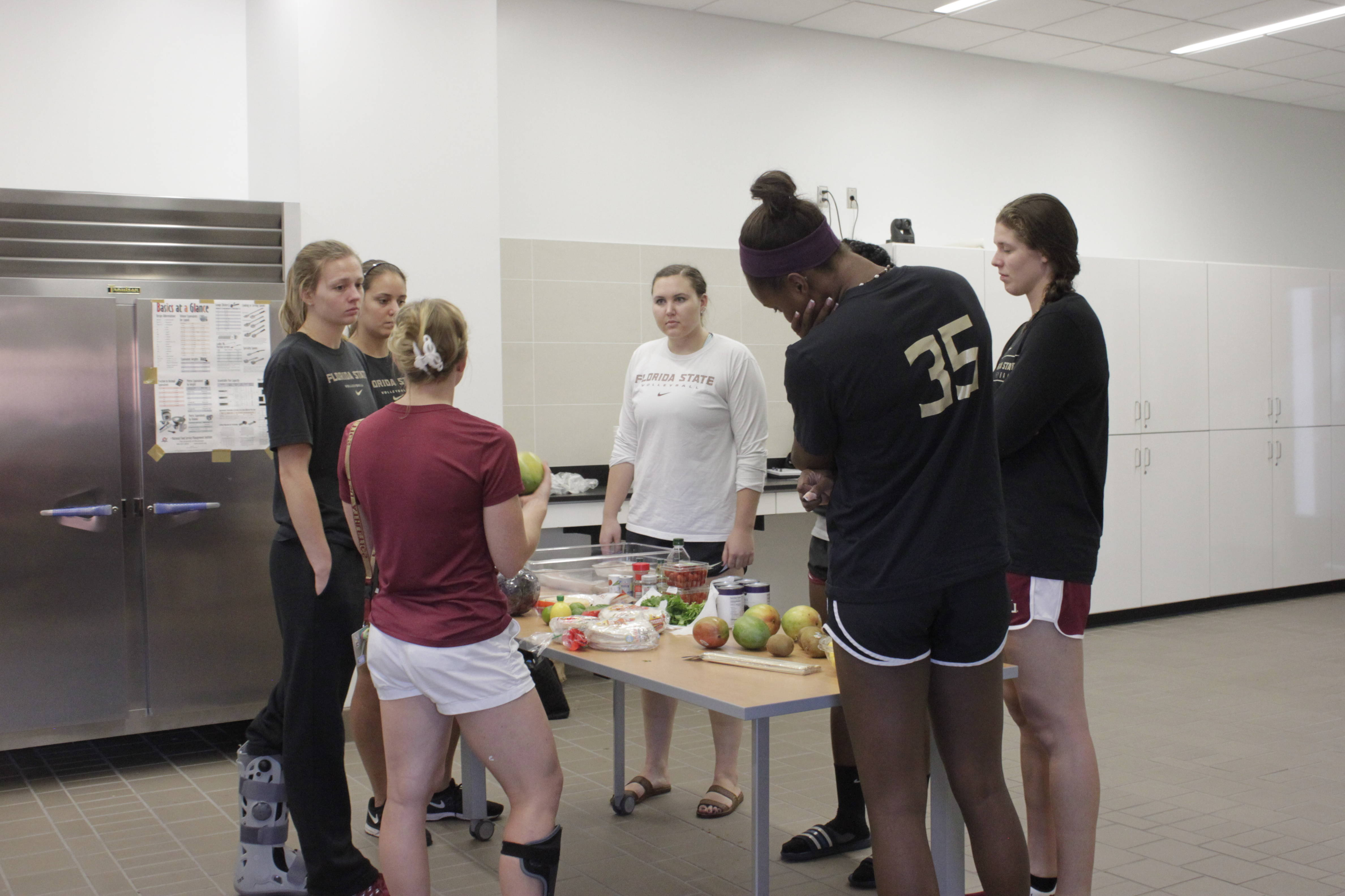 Lindsey Pfau instructs some of the ladies on the class.