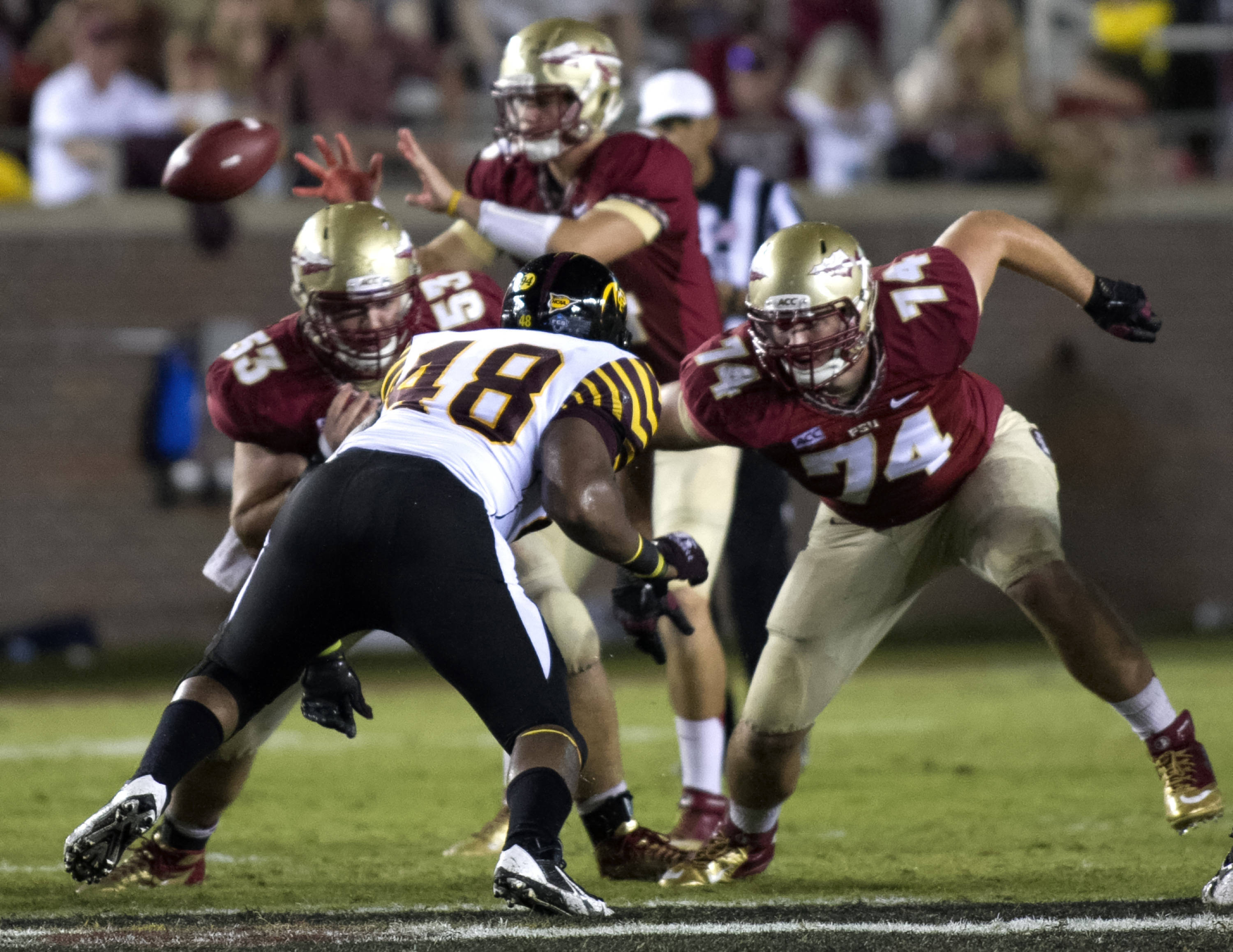 Sterling Lovelady (53), Jonathan Wallace (74), FSU vs Bethune-Cookman,  9-21-13, (Photo by Steve Musco)
