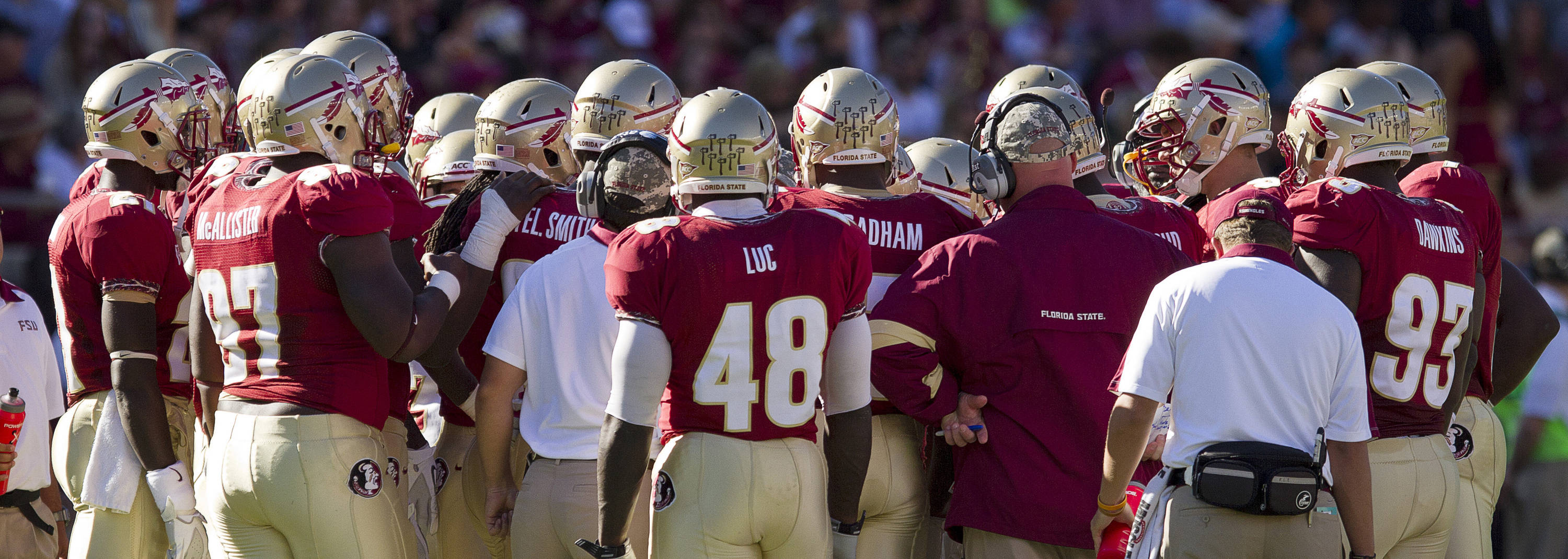 Jimbo Fisher talks to the team during a timeout during the football game against Maryland in Tallahassee, Florida on October 22, 2011.