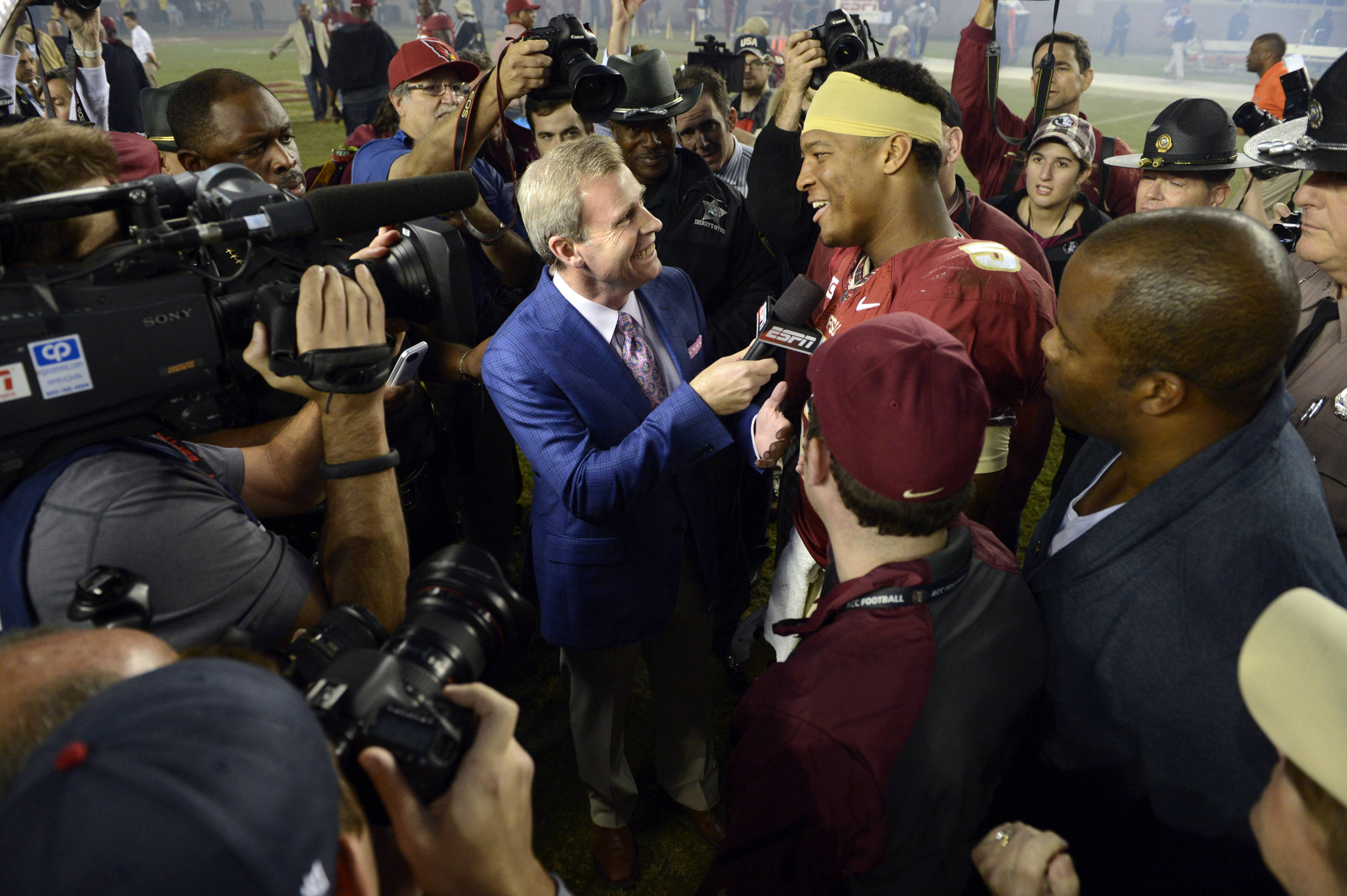 Florida State Seminoles quarterback Jameis Winston (5) does a end of game interview with ESPN after defeating the Miami Hurricanes 41-14 at Doak Campbell Stadium. Mandatory Credit: John David Mercer-USA TODAY Sports