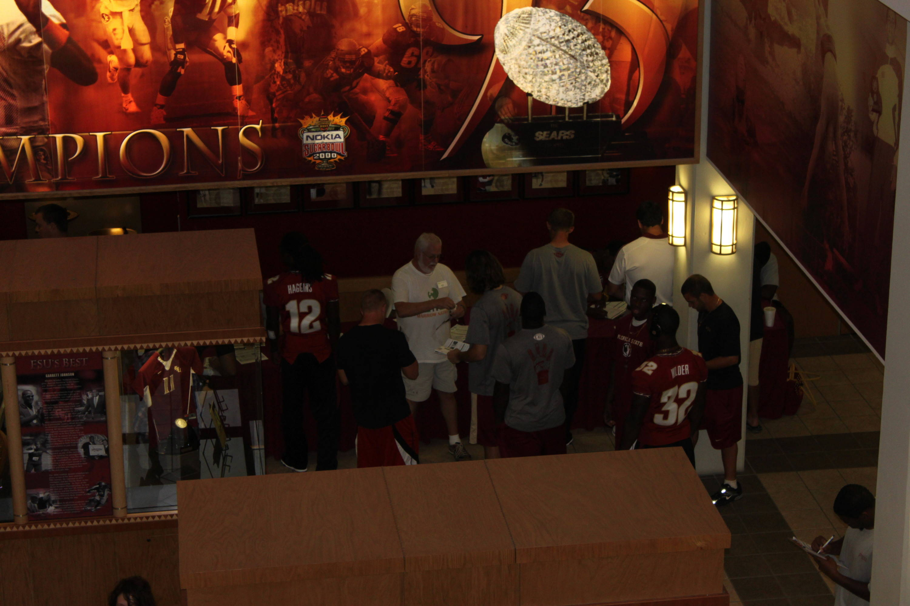 Football players gather to get swabbed