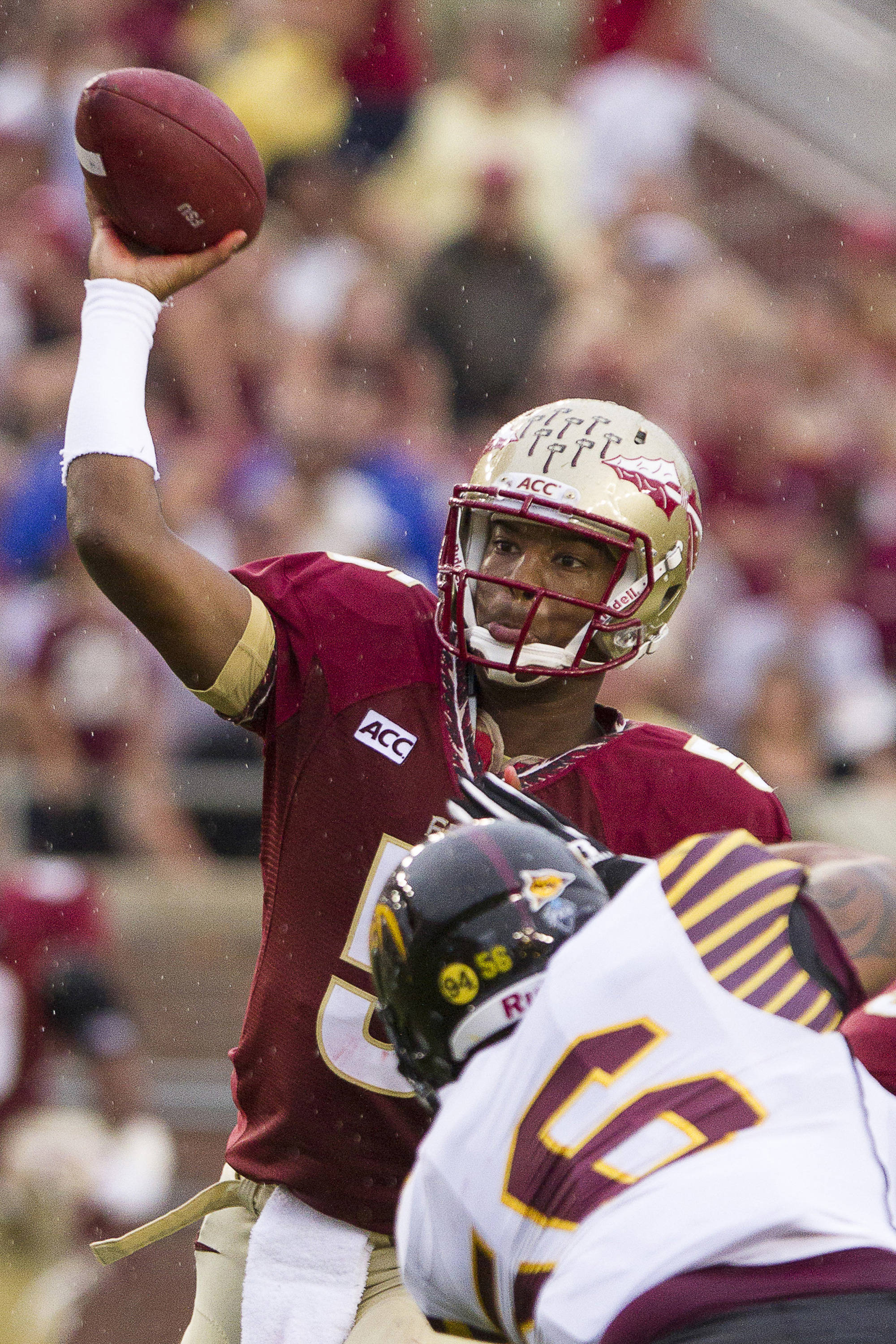 Jameis Winston (5) throws a pass during FSU Football's 54-6 win over Bethune-Cookman on September 21, 2013 in Tallahassee, Fla