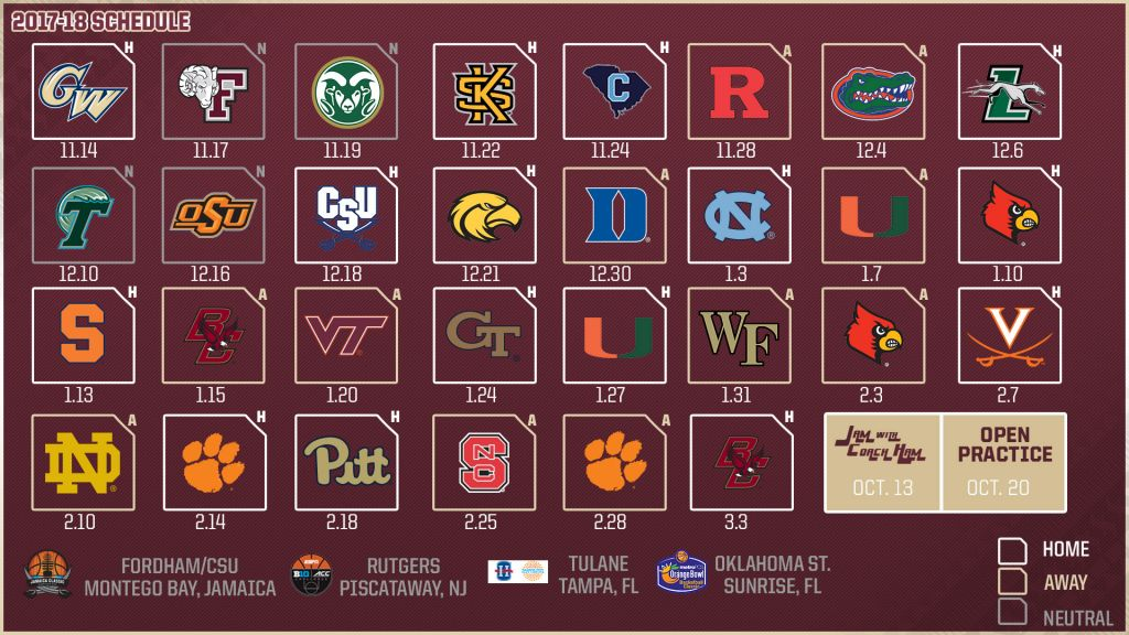 photograph about Printable Acc Men's Basketball Schedule identify Mens Basketball 2017-18 Program Introduced