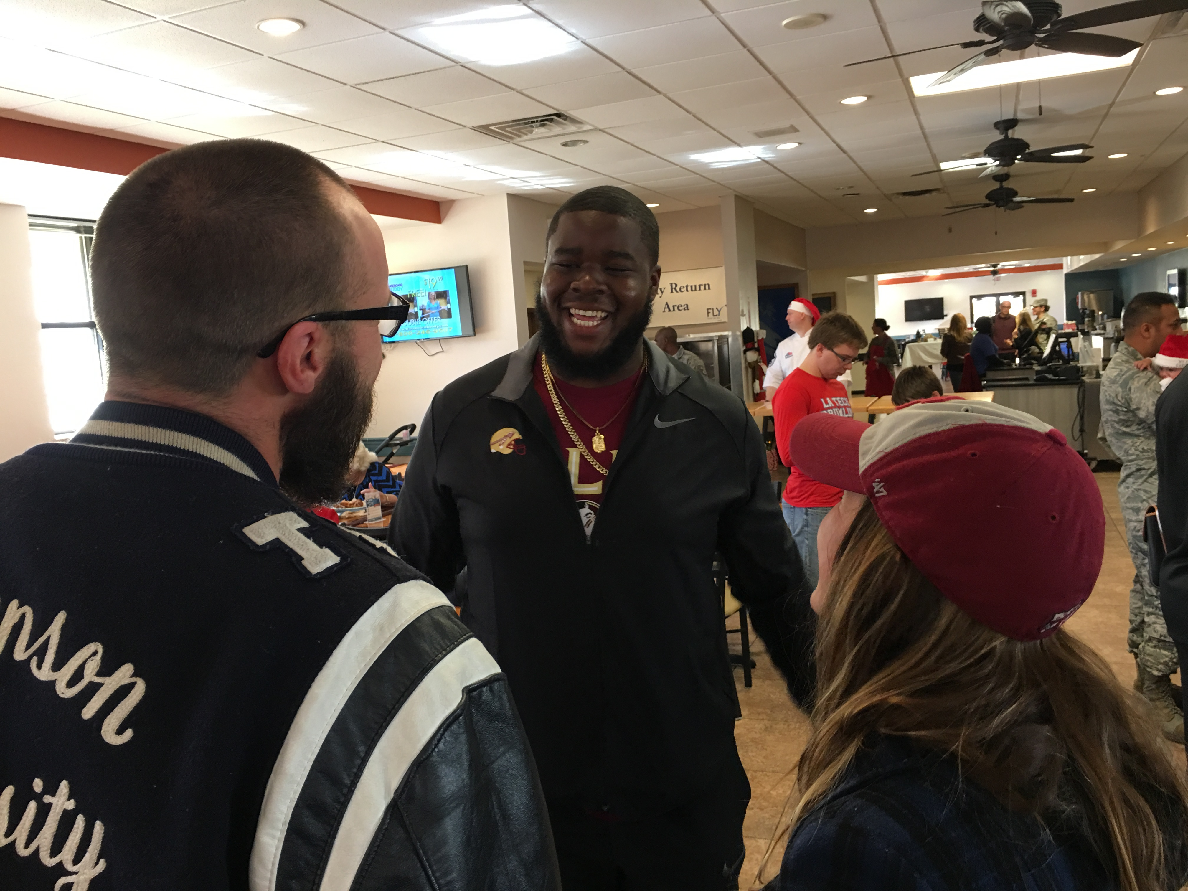 Photo Gallery: Football Visits Barksdale AFB On Christmas