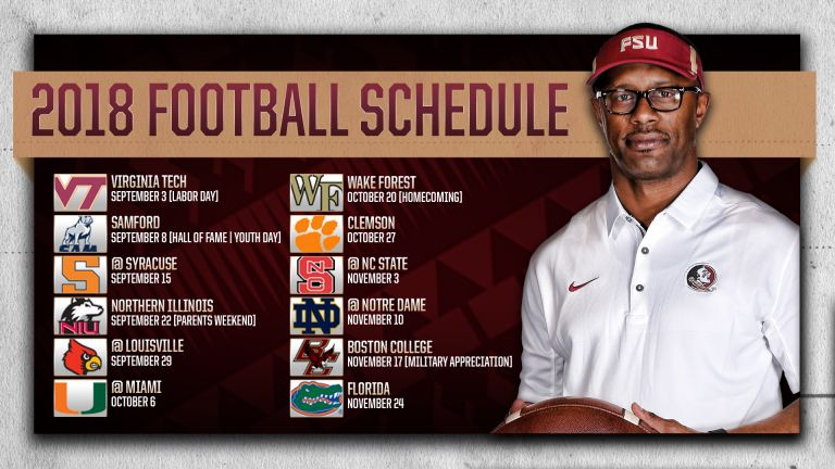 Fsu Announces 2018 Football Schedule
