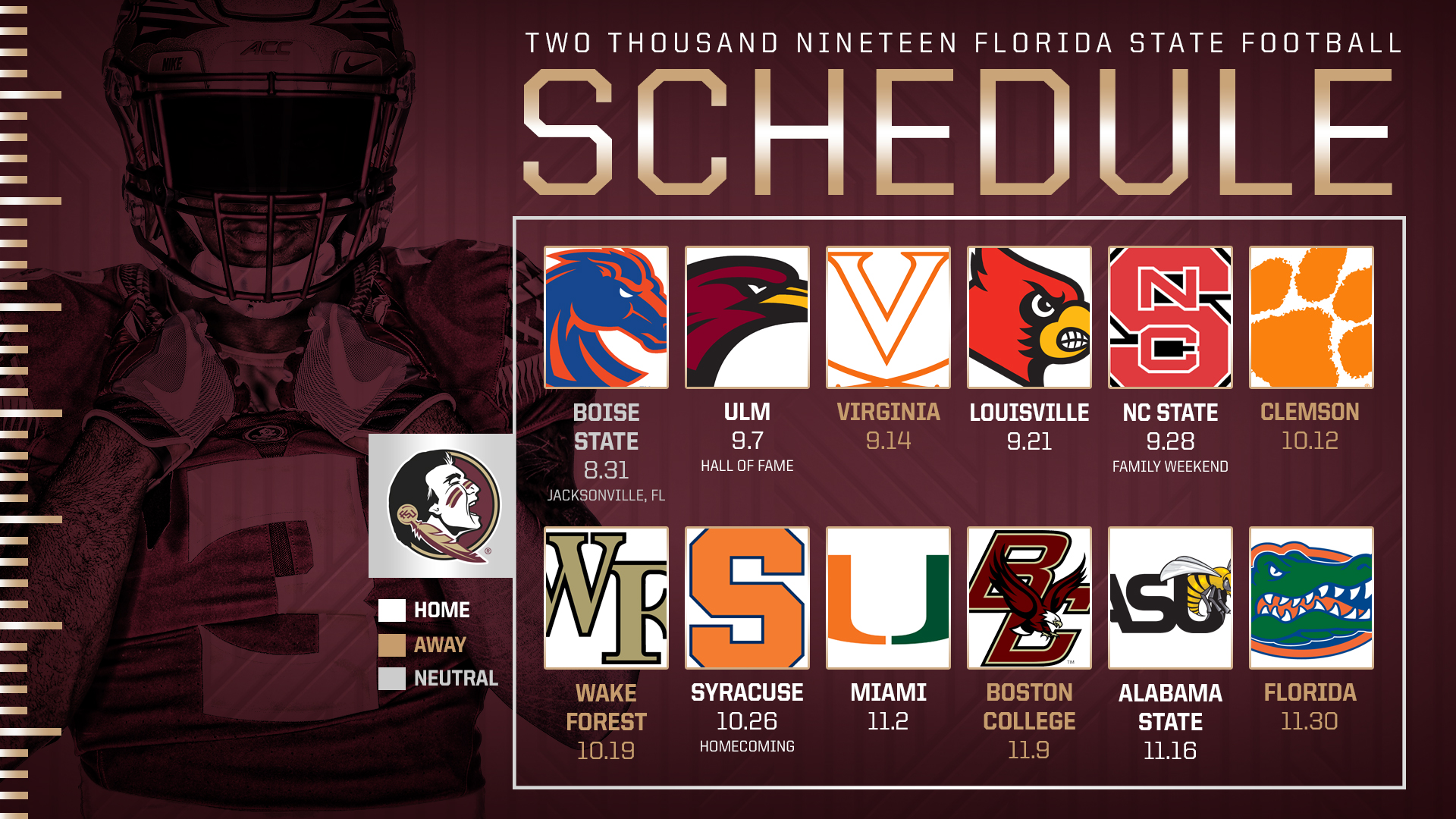 University Of Florida 2019 Calendar FSU's 2019 Schedule Set